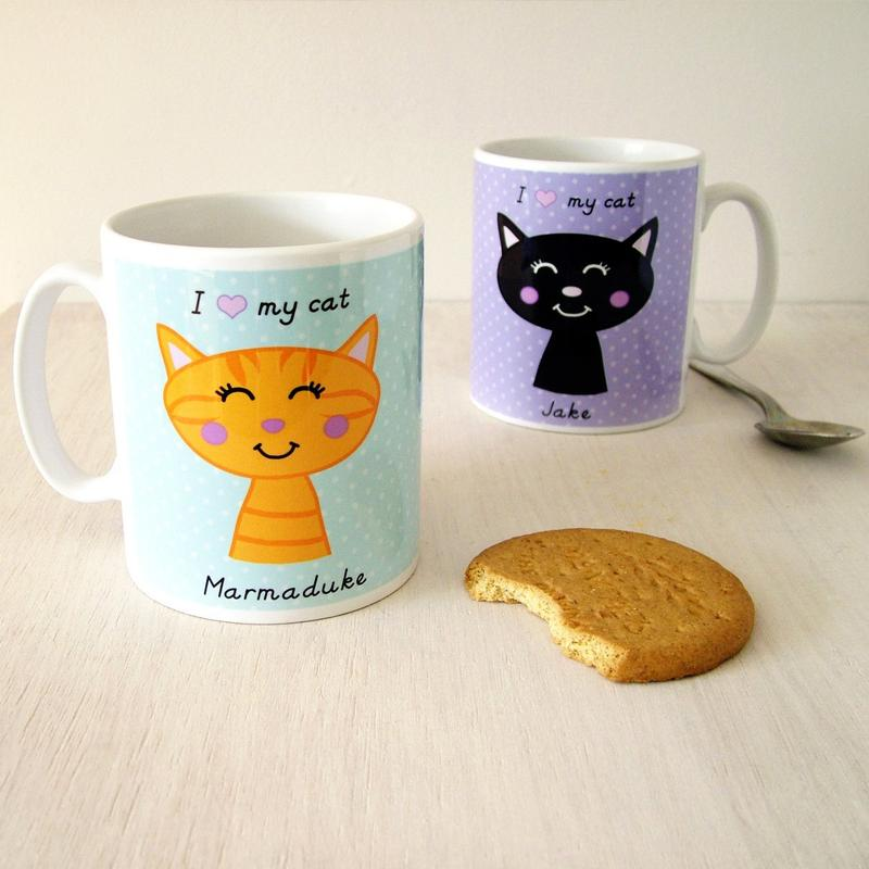 Personalised Cat Mug - Polka Dot
